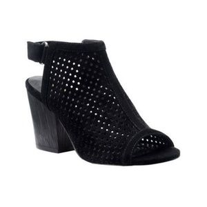 Isola Lora Perforated Suede Slingback Stacked Heel
